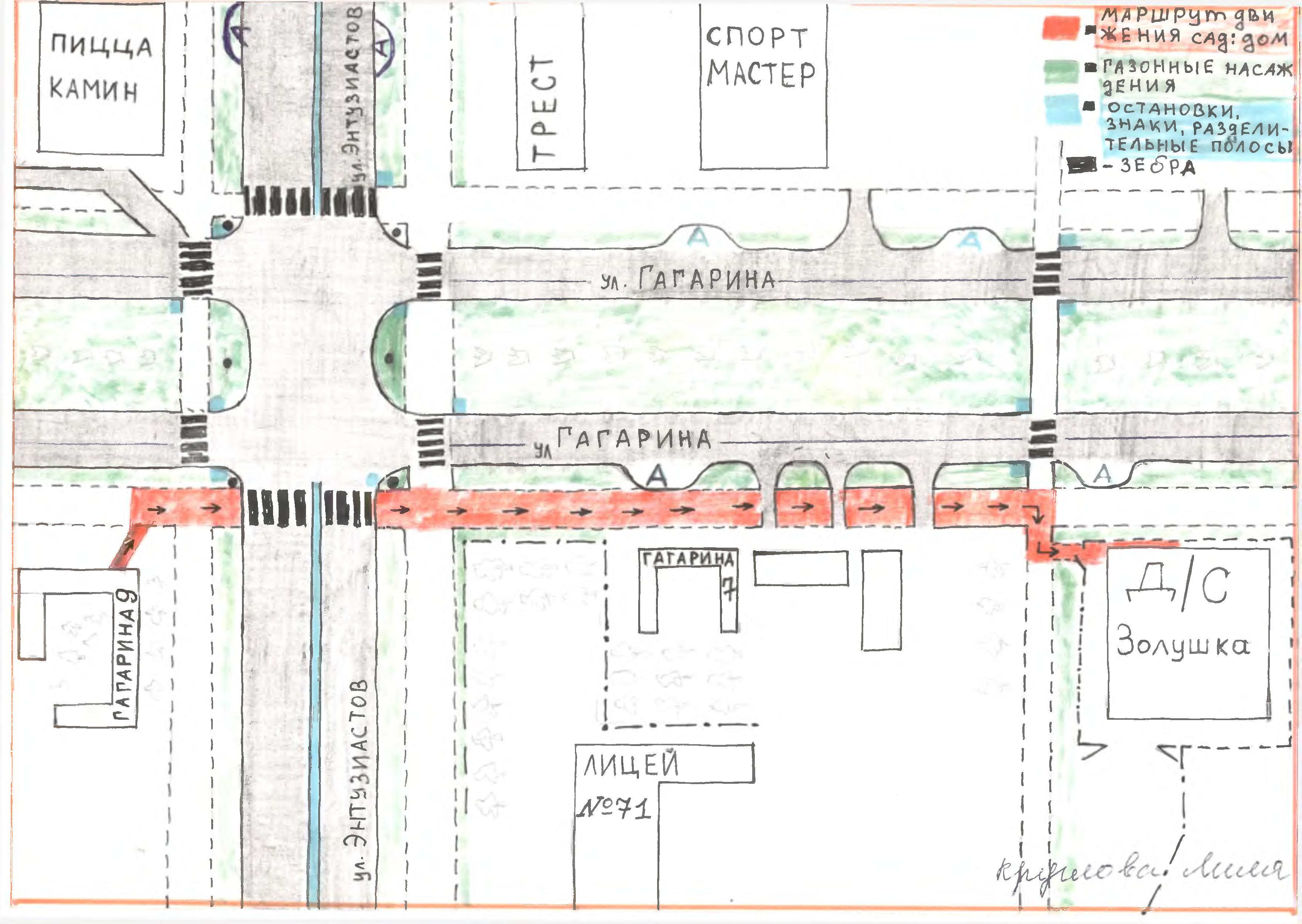 схема маршрута движения от дома до садика
